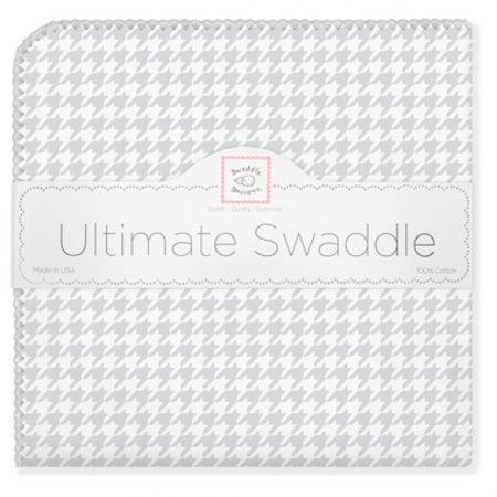 Swaddle Designs Ultimate Swaddle Blanket Sterling Puppytooth and Trim Sterling