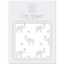 Cotton Flannel Crib Sheet Elephant and Chickies