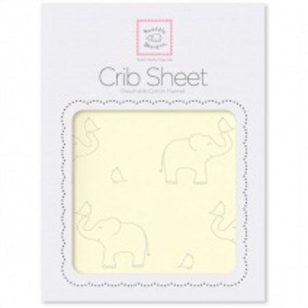 Swaddle Designs Cotton Flannel Crib Sheet Sterling Deco Elephants