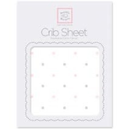 Swaddle Designs Cotton Flannel Crib Sheet Pastel and Sterling Little Dots