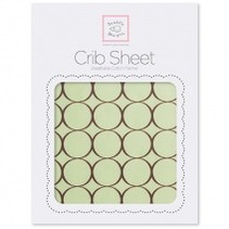Cotton Flannel Crib Sheet Pastel with Brown Mod Circles
