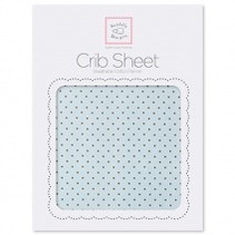 Cotton Flannel Crib Sheet Pastel with Brown Polka Dots