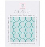 Swaddle Designs Cotton Flannel Crib Sheet Pastel with Jewel Tone Mod Circles