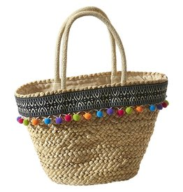 Tickled Pink Ava Pom Pom Straw Bag
