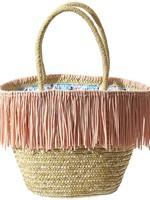 Tickled Pink Maya Pink Fringe Straw Bag