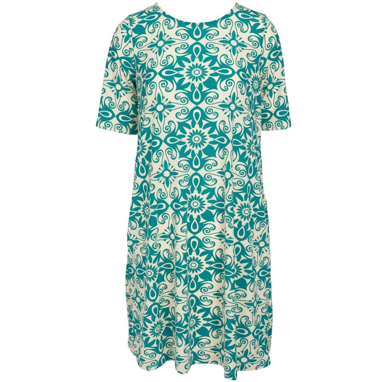 Swing Dress - Aqua on Creme - XS