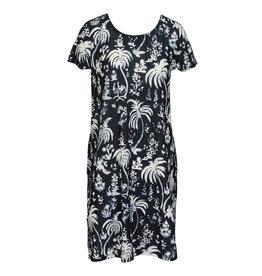 Cap Sleeve Swing Dress - Ebony Palm XXL