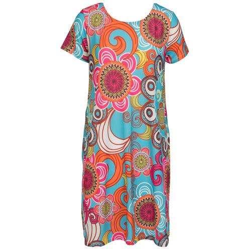 Cap Sleeve Swing Dress - Turquoise XS