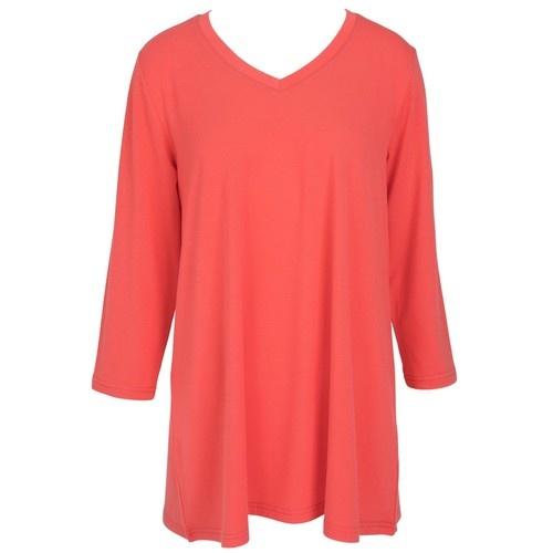 Essential V-Neck Tunic - Calypso Coral - LG/XL