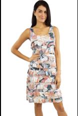 Tango Mango Salmon & Slate Ruffle Dress XL