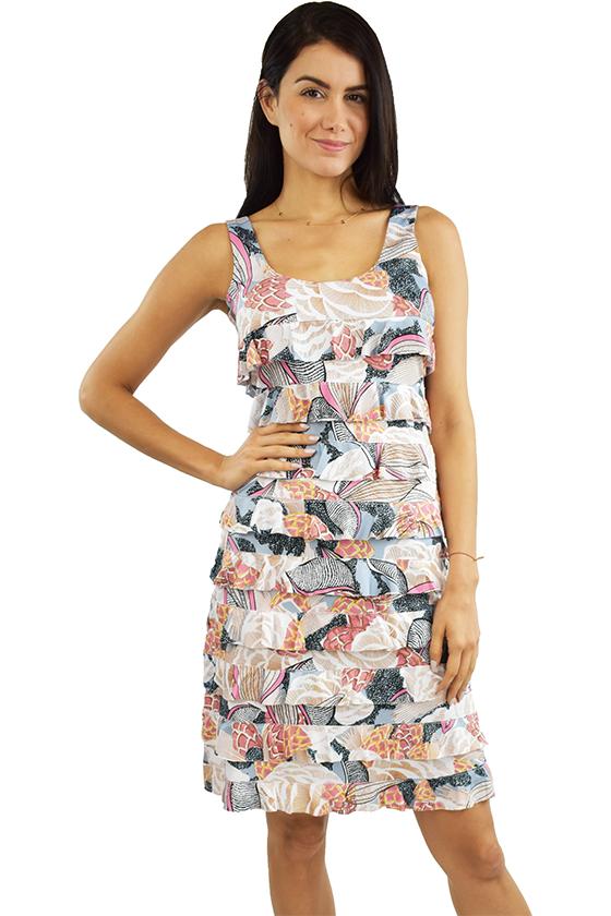 Tango Mango Salmon & Slate Ruffle Dress L
