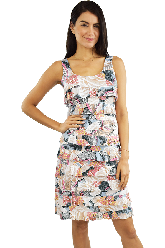 Tango Mango Salmon & Slate Ruffle Dress M