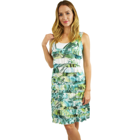 Tango Mango Green Watercolor Ruffle Dress L