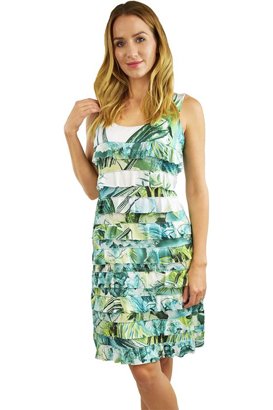 Tango Mango Green Watercolor Ruffle Dress L