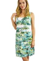 Tango Mango Green Watercolor Ruffle Dress S