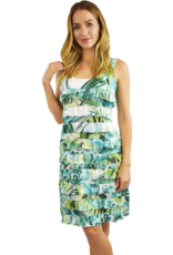 Tango Mango Green Watercolor Ruffle Dress S