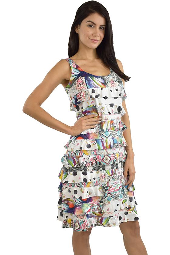 Tango Mango Multicolor w/Black Polka Dots Ruffle Dress L