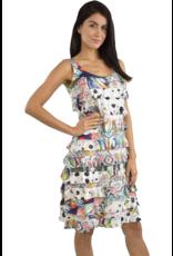 Tango Mango Multicolor w/Black Polka Dots Ruffle Dress M