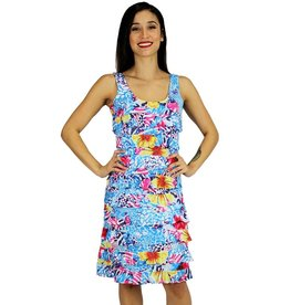 Tango Mango Bright Multicolored Ruffle Dress Large