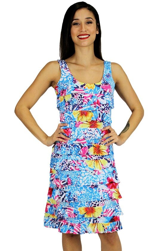 Tango Mango Bright Multicolored Ruffle Dress Medium