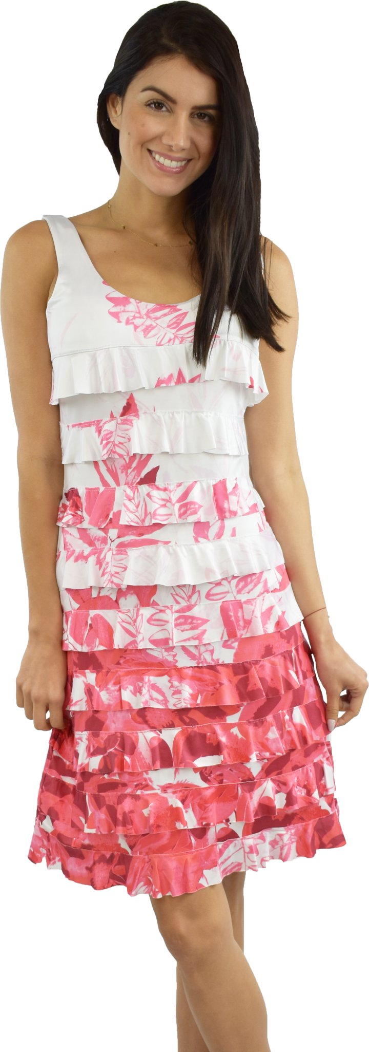 Tango Mango Fuchsia Botanical Ruffle Dress XS
