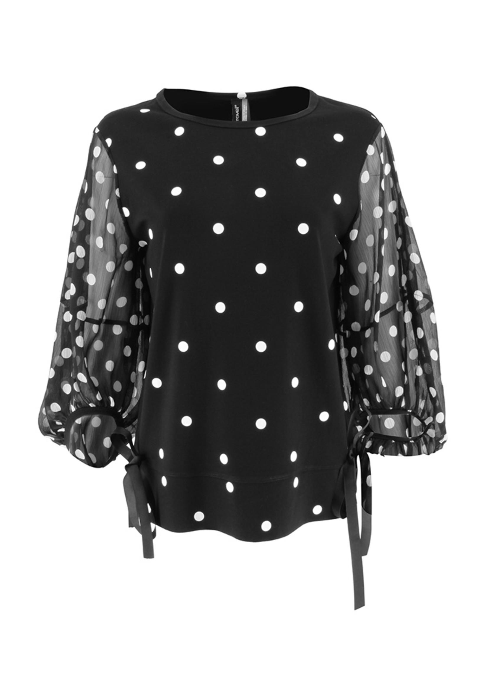 Ravel Black and White Polka Dot Top Sheer Sleeves Large