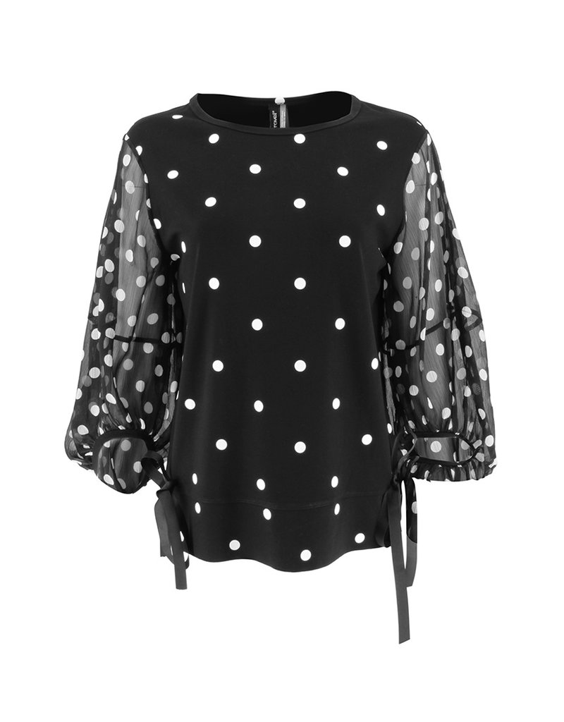 Ravel Black and White Polka Dot Top Sheer Sleeves Large