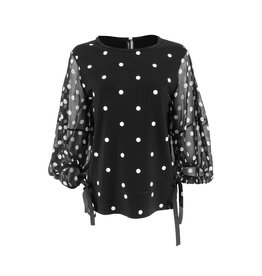 Ravel Black and White Polka Dot Top Sheer Sleeves Medium