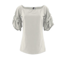 Ravel Ivory Scrunchy Sleeve Tee Small