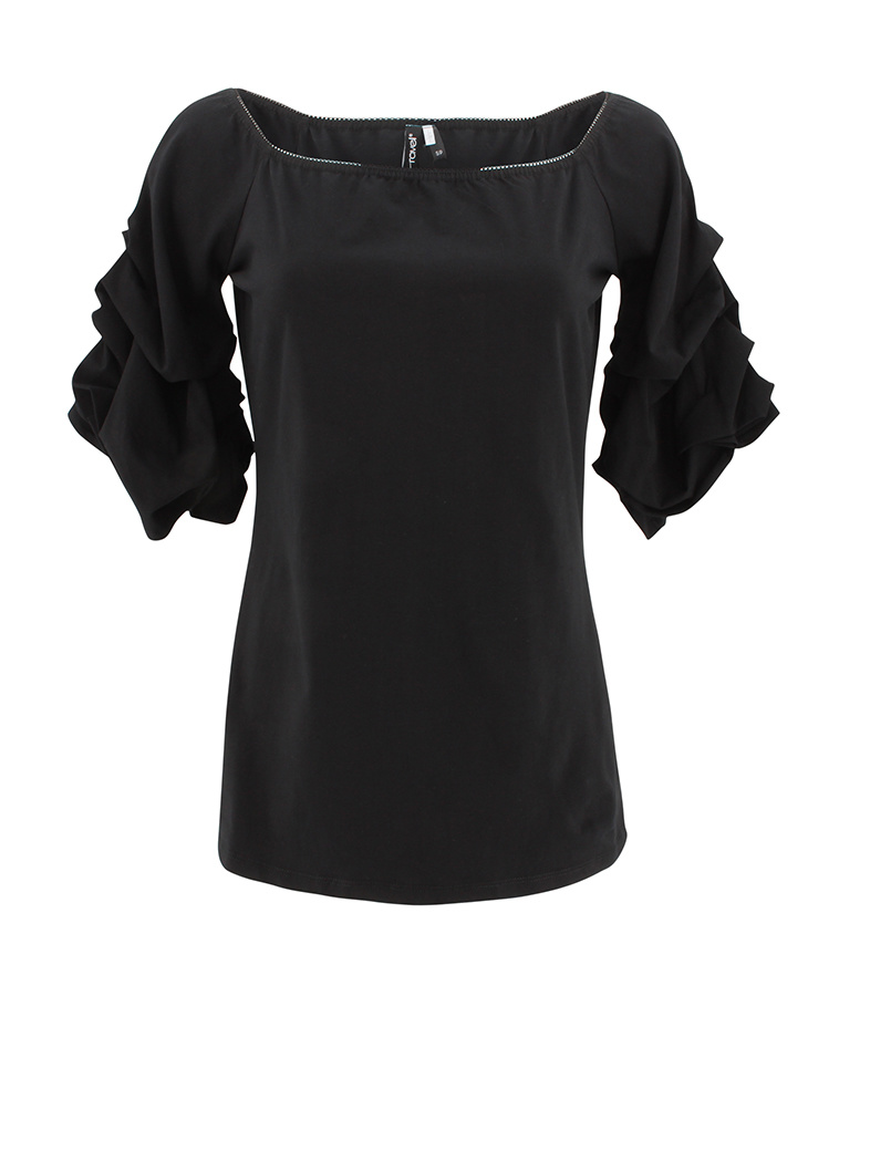 Ravel Black Scrunchy Sleeve Tee X-Large