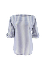 Ravel Blue Striped Blouse Medium