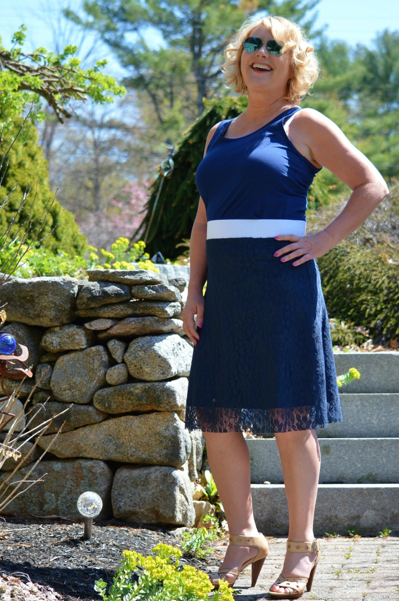 Groovy Judes Lace Skirt w/Roll Waist Band Navy S