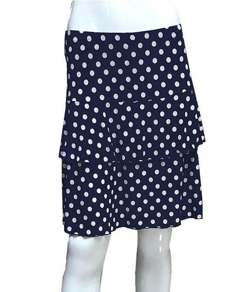 Fashque Navy and White Polka Dot Ruffle Skort Large
