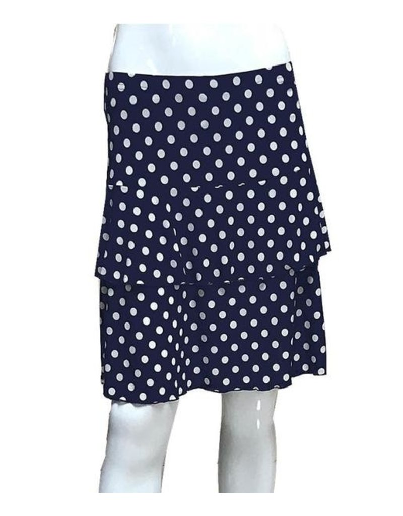 Fashque Navy and White Polka Dot Ruffle Skort Small
