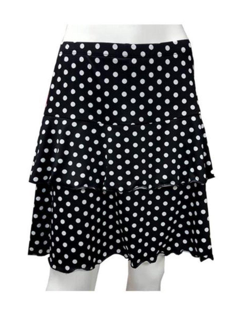 Fashque Black and White Polka Dot Ruffle Skort Small