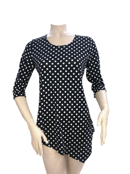 Fashque Black and White Polka Dot Asymetrical Top Small