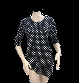 Fashque Black and White Polka Dot Asymetrical Top Medium