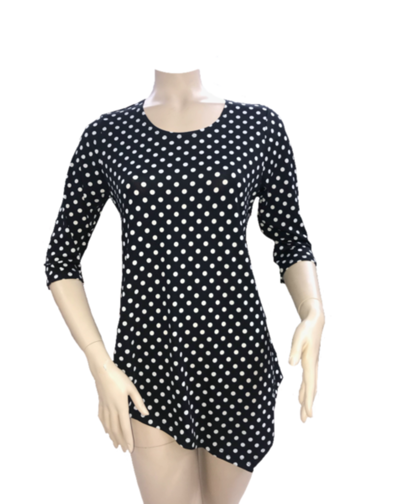Fashque Black and White Polka Dot Asymetrical Top Medium