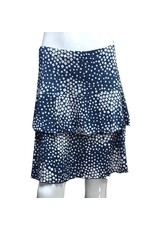 Fashque Denim Pattern Ruffle Skort Small