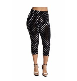 Fashque Black and White Polka Dot Capri Leggings Small