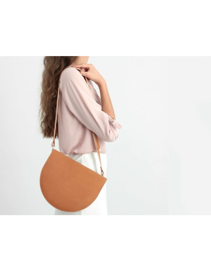 BogaBag Brown Half Circle Crossbody Bag