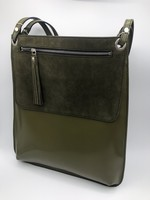 BogaBag Olive Green Patent Tote Bag with Pouch