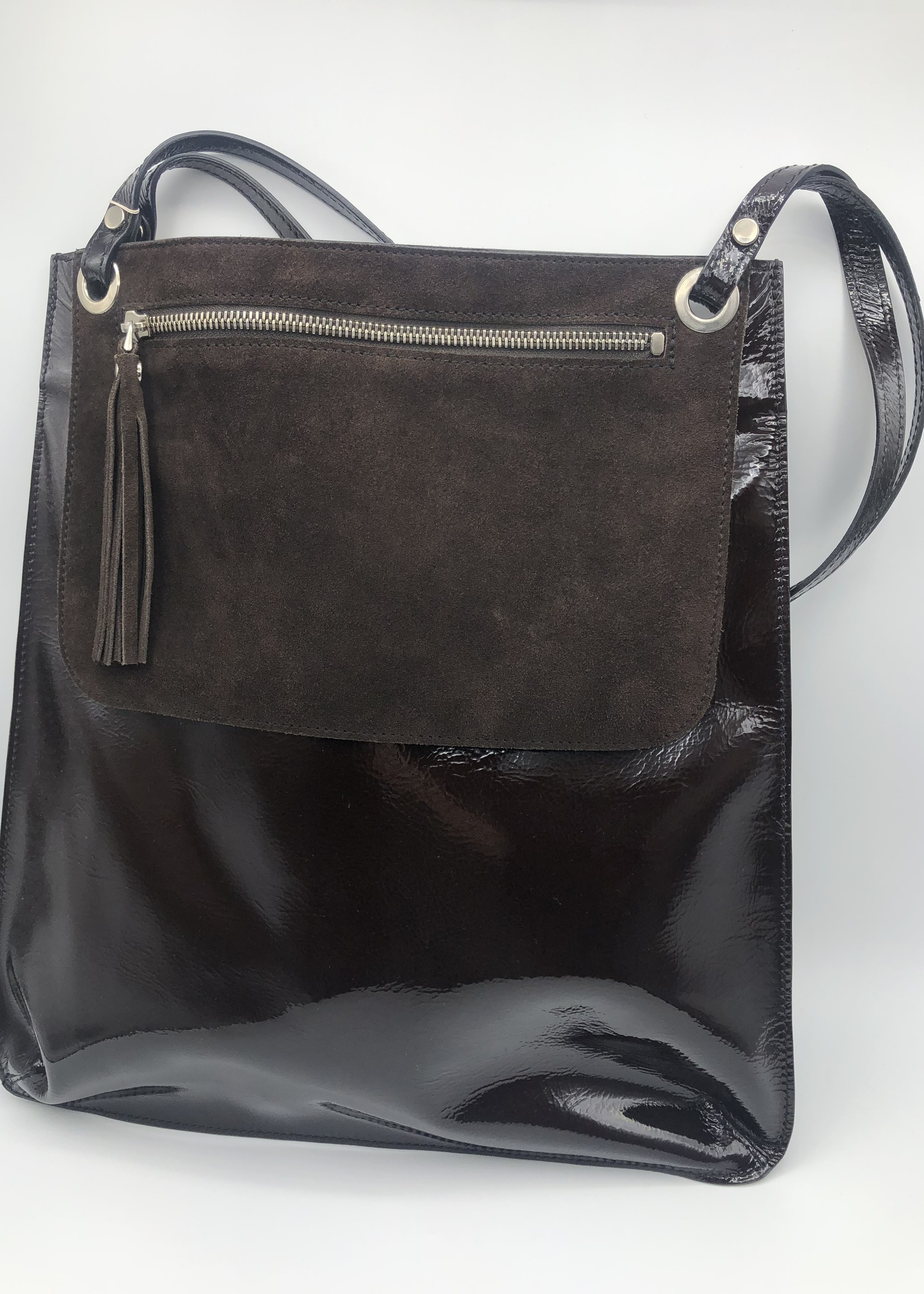 BogaBag Brown Patent Tote Bag with Pouch