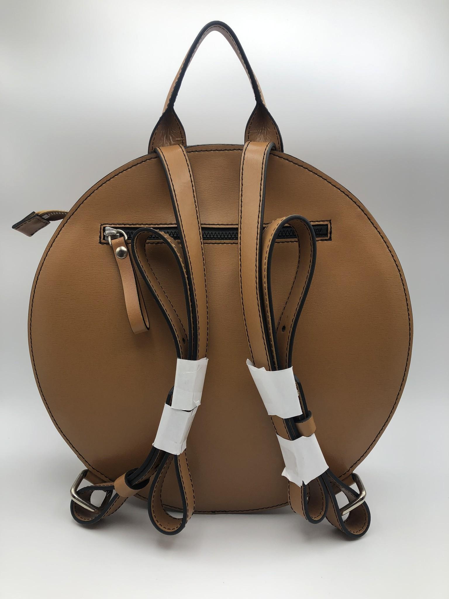 BogaBag Natural Leather Circle Backpack