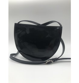 BogaBag Black Patent Leather Half Circle Crossbody Bag