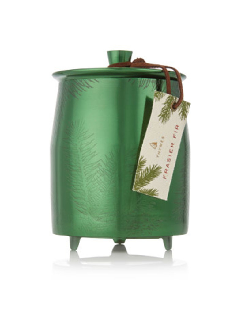 Thymes Frasier Fir Large Poured Candle Green Metal Tin
