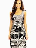 Tango Mango Black & White Leaf Pattern Ruffle Dress Medium