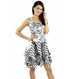 Tango Mango Black & White Paisley Striped Bubble Dress Large