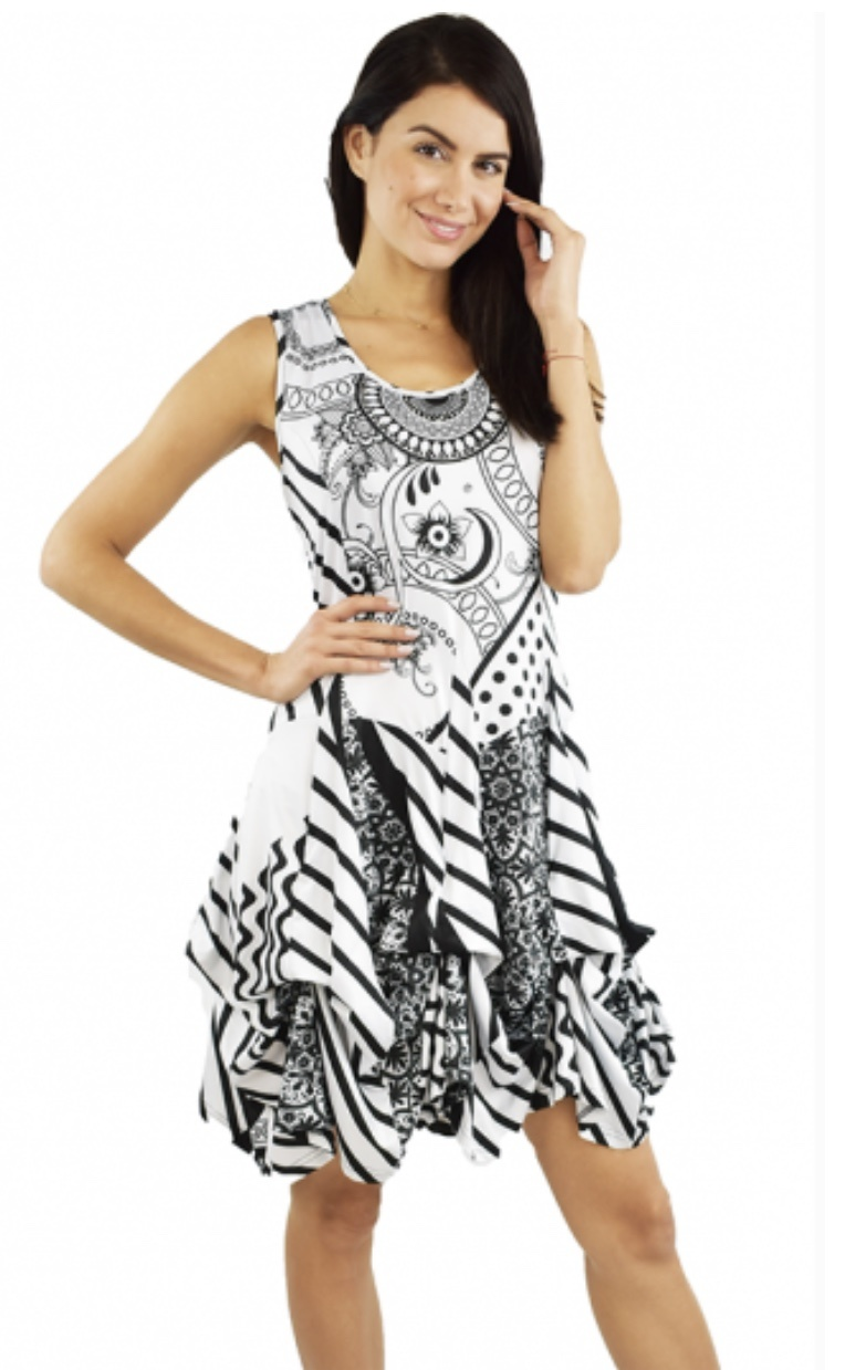 Tango Mango Black & White Paisley Striped Bubble Dress S