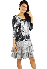 Tango Mango Black & White Long Sleeve Leaf Pattern Dress Large
